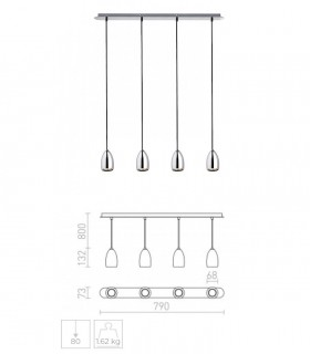 Dimensiones Lámpara 4 Colgantes Pequeños GU10 BABADES IV Cromo o níquel mate