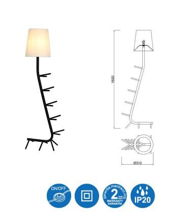 Dimensiones Lámpara de pie CENTIPEDE Mantra Blanco-Negro-Rojo-Azul