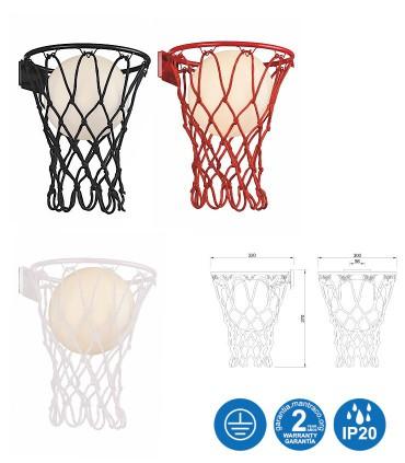 Dimensiones Aplique BASKETBALL Mantra Blanco, Negro, Rojo