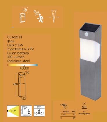 Características Baliza Solar SOLSTEL c/sensor de presencia 2.3W 150lm Acero Inox