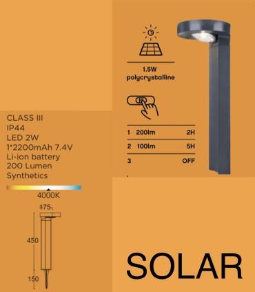 Características Baliza Solar DISO 2W 200lm Antracita