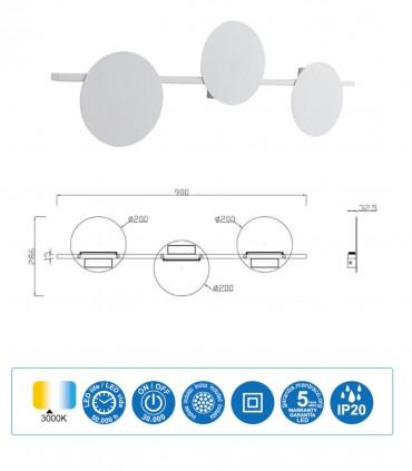 Dimensiones Aplique ERIS LED 24W 3000K Grande Blanco, Negro Mantra