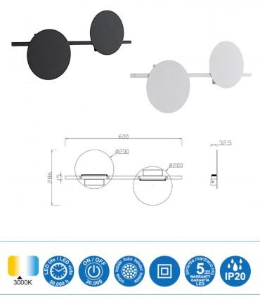 Dimensiones Aplique ERIS LED 16W 3000K Mediano Negro, Blanco  Mantra