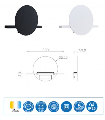 Dimensiones Aplique ERIS LED 8W 3000K Pequeño Blanco 7296, Negro 7297 - Mantra