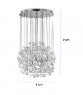 Dimensiones Lámpara Bollicine SP14 tulipa blanca-transp. 087924 IDEAL LUX