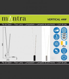 Características Lámpara pie Vertical led 44W blanco, negro Mantra