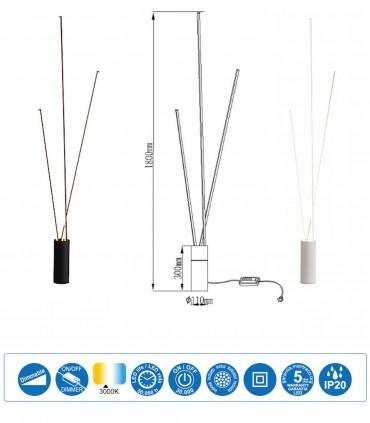 Dimensiones Lámpara pie Vertical led 60W blanco, negro Mantra