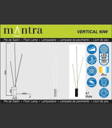 Características Lámpara pie Vertical led 60W blanco, negro Mantra