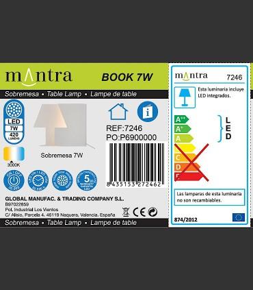Detalles Técnicos Lámpara sobremesa BOOK grande 10W 7245 Mantra