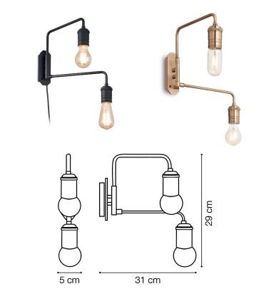 Dimensiones Aplique articulado TRIUMPH 2L E27 Negro o Latón IDEAL LUX