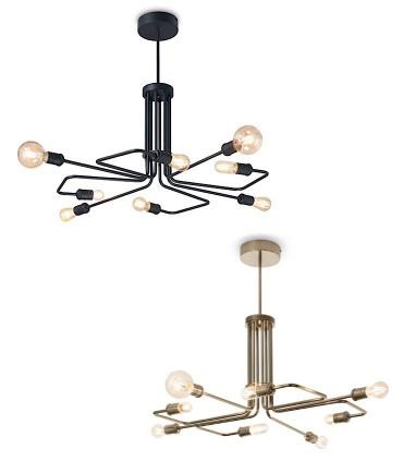 Lámpara TRIUMPH SP8 E27 Negro o Latón IDEAL LUX