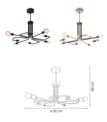 Dimensiones Lámpara TRIUMPH SP8 E27 Negro o Latón IDEAL LUX