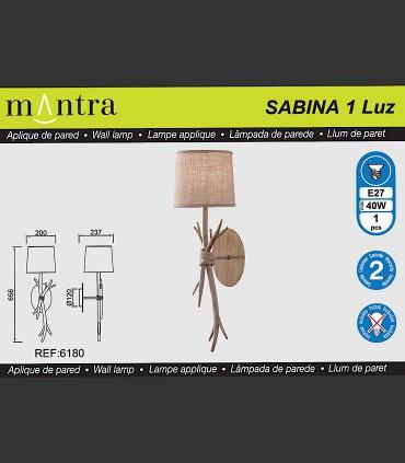 Mantra iluminación, Aplique 1luz Sabina 6180