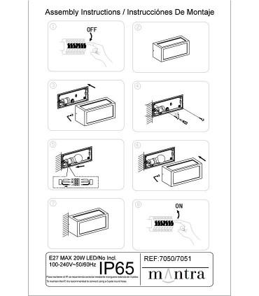 Montaje Aplique UTAH Gris Oscuro o Blanco IP65 E27 Mantra