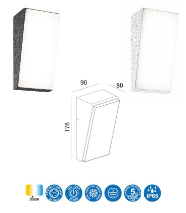 Medidas Aplique de pared SOLDEN V LED 9W 3000K IP65 Mantra