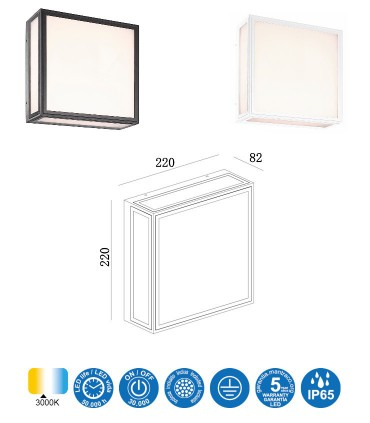 Dimensiones Aplique/Plafón BACHELOR LED 14W 3000K IP65 Mantra