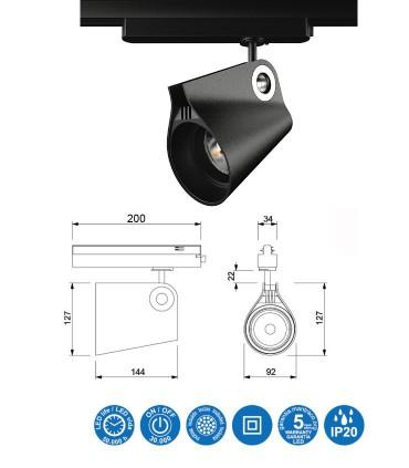 Características Foco de carril IPSILON Trifásico Negro 35W Mantra 7317-7318