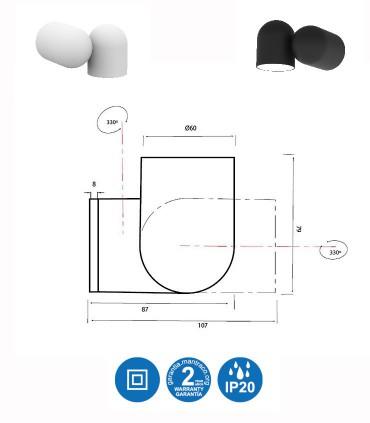Foco superficie - Aplique Orientable IOS GU10 Blanco o Negro Mantra