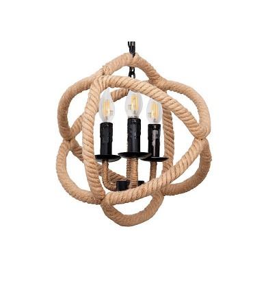 Lámpara colgante soga círculos 3L. E-14