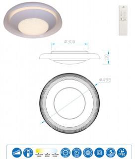 Características Plafón ARI LED 24w 49.5cm c/mando 5926 de Mantra