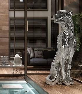 Figura Leopardo BAGUIRA plata derecha