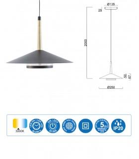 Características Lámpara negra cuero y latón ORION 8W LED Mantr 7305