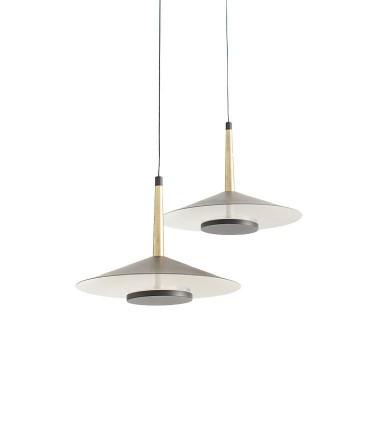 Lámpara 2 luces negra cuero y latón ORION 16W LED Mantra