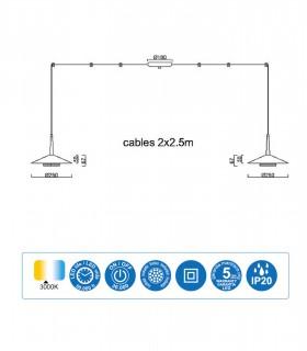 Dimensiones Lámpara 2 luces negra cuero y latón ORION 16W LED Mantra