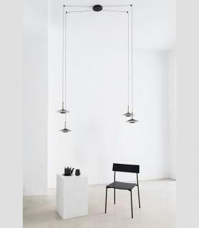 Lámpara 4 luces negra cuero y latón ORION 32W LED Mantra puntos desplazables.