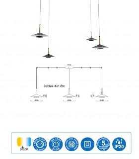 Características Lámpara 4 luces negra cuero y latón ORION 32W LED Mantra