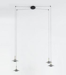 Lámpara 4 luces negra cuero y latón ORION 32W LED Mantra