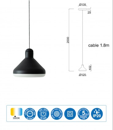 Dimensiones Lámpara negra ANTARES 8W LED Mantra