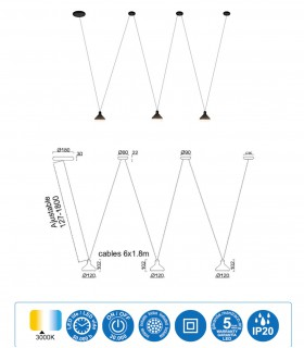 Características Lámpara negra tres luces ANTARES 24W LED Mantra 7311