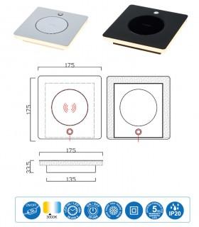 Características Sobremesa ZANZIBAR 6W con cargador móvil inducción blanca o negra