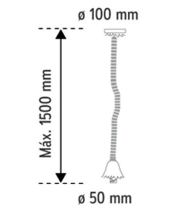 Dimensiones: Lámpara Colgante Portalámparas SOGA gruesa: Ø35mm