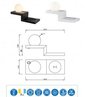 Características Aplique ZANZIBAR 6W con cargador móvil inducción Blanco o Negro