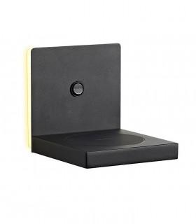 Aplique ZANZIBAR 3W con cargador móvil inducción Negro