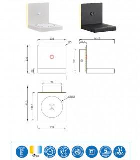 Características Aplique ZANZIBAR 3W con cargador móvil inducción Blanco o Negro