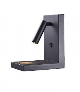 Aplique ZANZIBAR 3W foco con cargador móvil inducción Negro
