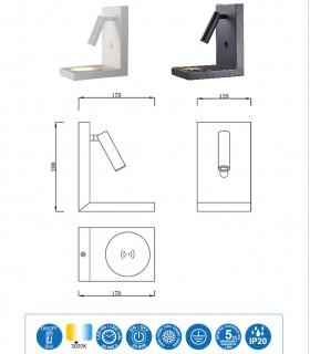Características Aplique ZANZIBAR 3W foco con cargador móvil inducción Blanco o Negro