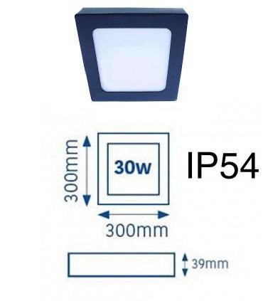 Plafón LED Know IP54 30W 4000K cuadrado antracita INT-EXT
