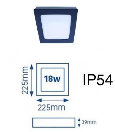 Plafón LED Know IP54 18W 4000K cuadrado antracita INT-EXT