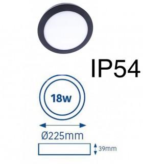 Dimensiones Plafón LED Know IP54 18W 4000K redondo antracita INT-EXT