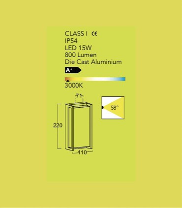 Aplique Exterior Led Rect Aluminio 18W 1100lm 3000K