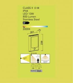 Aplique Exterior Led Fc Acero 13W 800lm 3000K con sensor de presencia