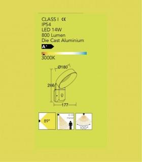 Aplique exterior Aluminio 14W 800lm 3000K con sensor de presencia