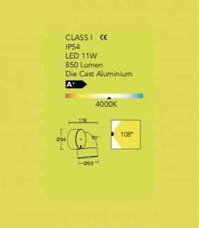 Aplique exterior Circ. Aluminio 11W 850lm 4000K