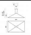 Dimensiones Lámpara Tubs 48w negro 00-6000-05-M1 Leds C4