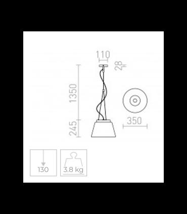 Dimensiones Lámpara colgante CORONA 35cm cristal cromado E27