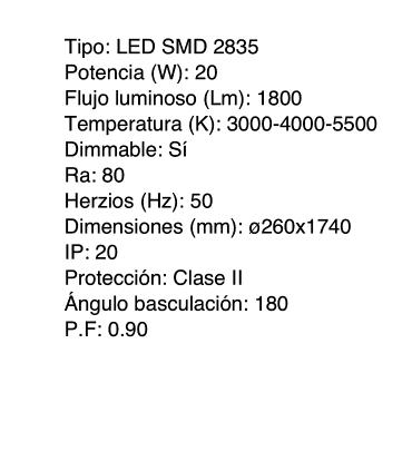 Características Lámpara de pie Led 20W Negro Regulable con mando a distancia